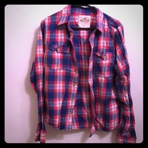 Hollister Flannel Plaid Red Blue Mens Size Medium